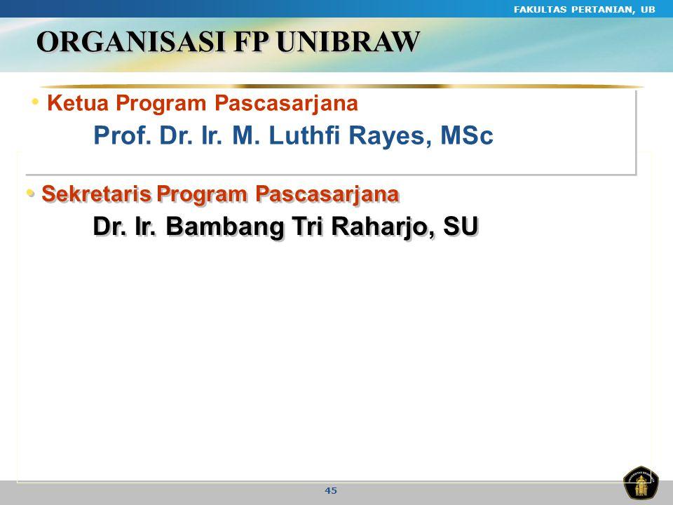 FAKULTAS PERTANIAN, UB 45 ORGANISASI FP UNIBRAW Ketua Program Pascasarjana Prof. Dr. Ir. M. Luthfi Rayes, MSc Ketua Program Pascasarjana Prof. Dr. Ir.