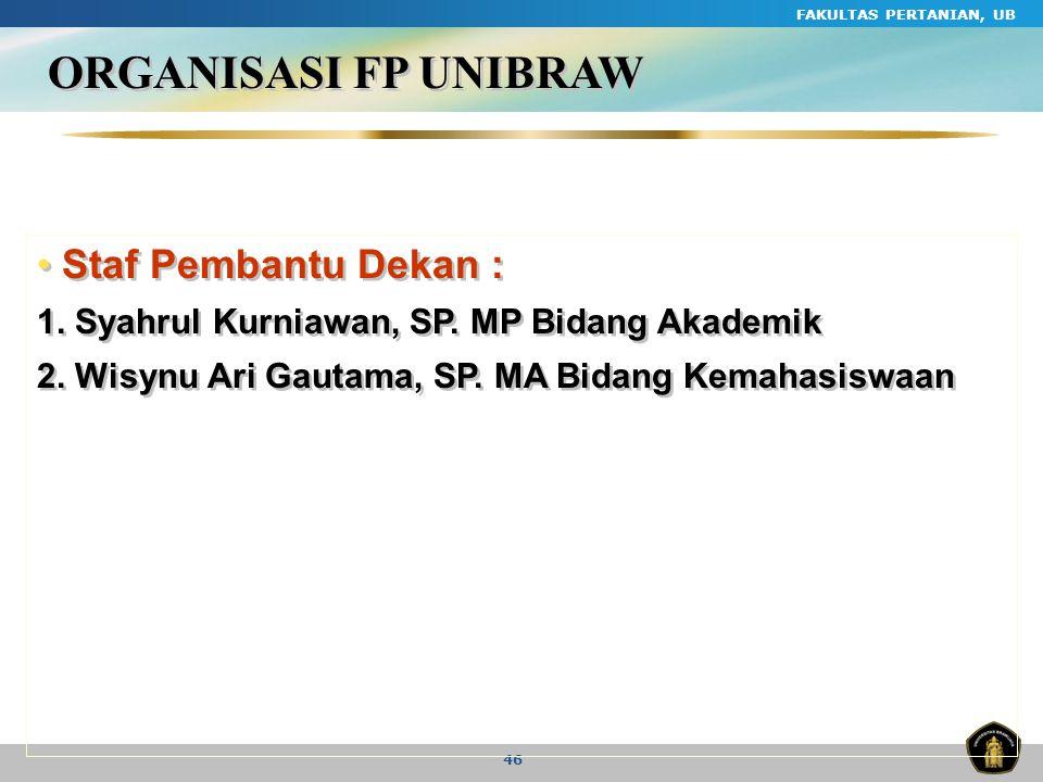 FAKULTAS PERTANIAN, UB 46 ORGANISASI FP UNIBRAW Staf Pembantu Dekan : 1. Syahrul Kurniawan, SP. MP Bidang Akademik 2. Wisynu Ari Gautama, SP. MA Bidan