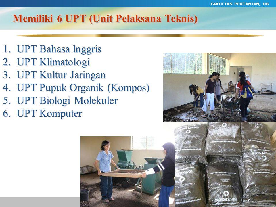 FAKULTAS PERTANIAN, UB 49 Memiliki 6 UPT (Unit Pelaksana Teknis) 1.UPT Bahasa lnggris 2.UPT Klimatologi 3.UPT Kultur Jaringan 4.UPT Pupuk Organik (Kom