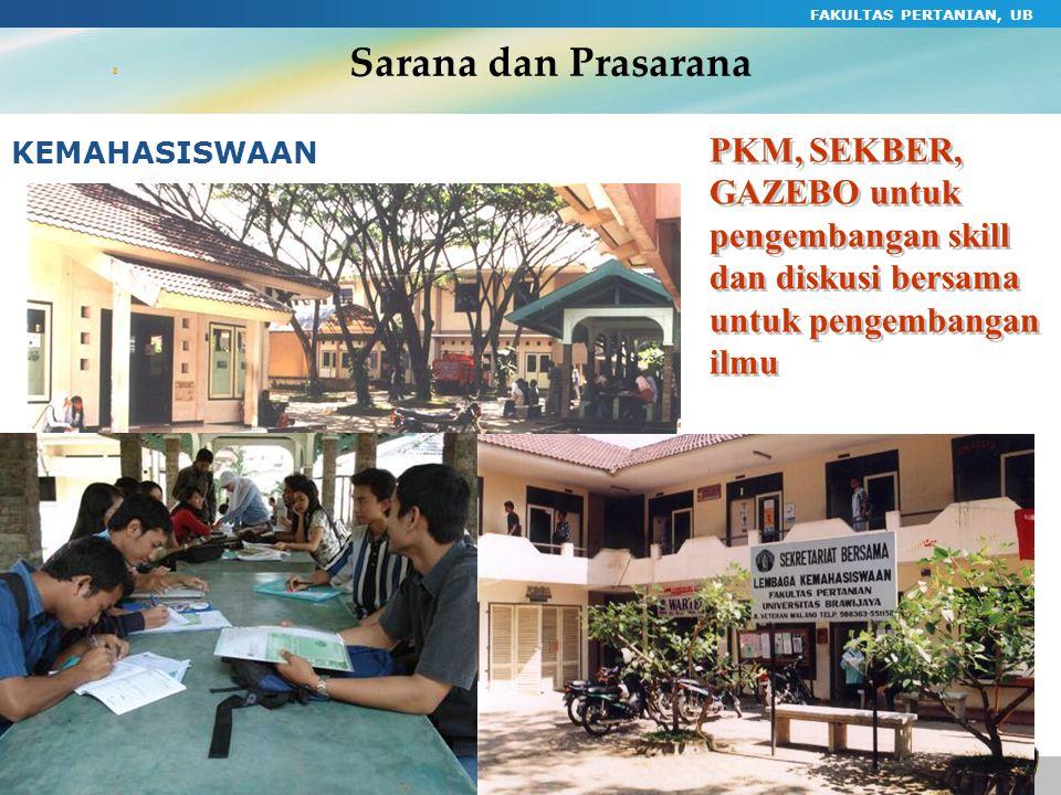 FAKULTAS PERTANIAN, UB 55 Sarana dan Prasarana KEMAHASISWAAN PKM, SEKBER, GAZEBO untuk pengembangan skill dan diskusi bersama untuk pengembangan ilmu