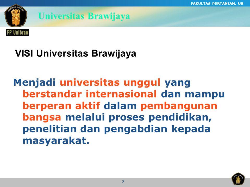 FAKULTAS PERTANIAN, UB 7 VISI Universitas Brawijaya Menjadi universitas unggul yang berstandar internasional dan mampu berperan aktif dalam pembanguna