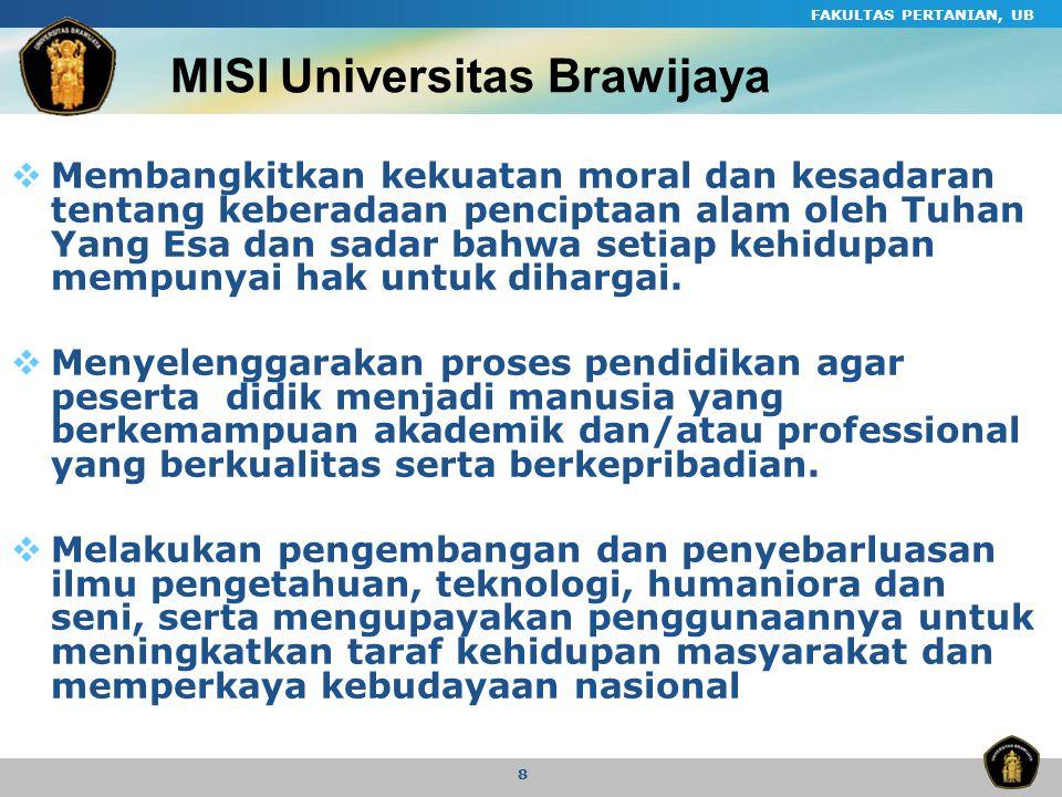 FAKULTAS PERTANIAN, UB 8 MISI Universitas Brawijaya  Membangkitkan kekuatan moral dan kesadaran tentang keberadaan penciptaan alam oleh Tuhan Yang Es