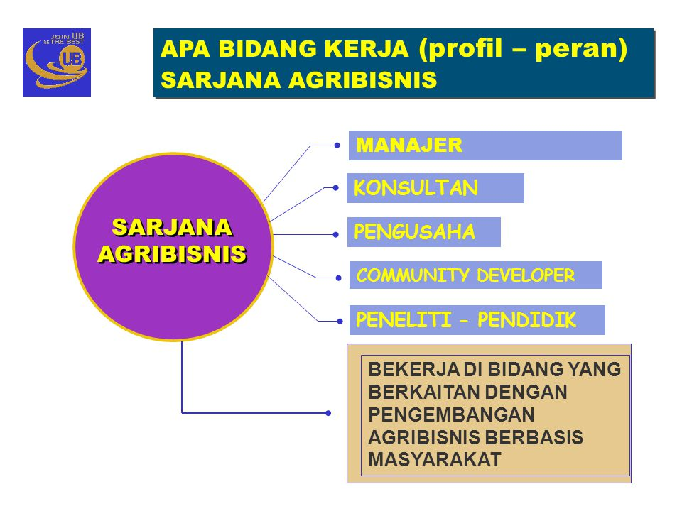 APA BIDANG KERJA (profil – peran) SARJANA AGRIBISNIS APA BIDANG KERJA (profil – peran) SARJANA AGRIBISNIS PENGUSAHA PENELITI - PENDIDIK KONSULTAN MANA