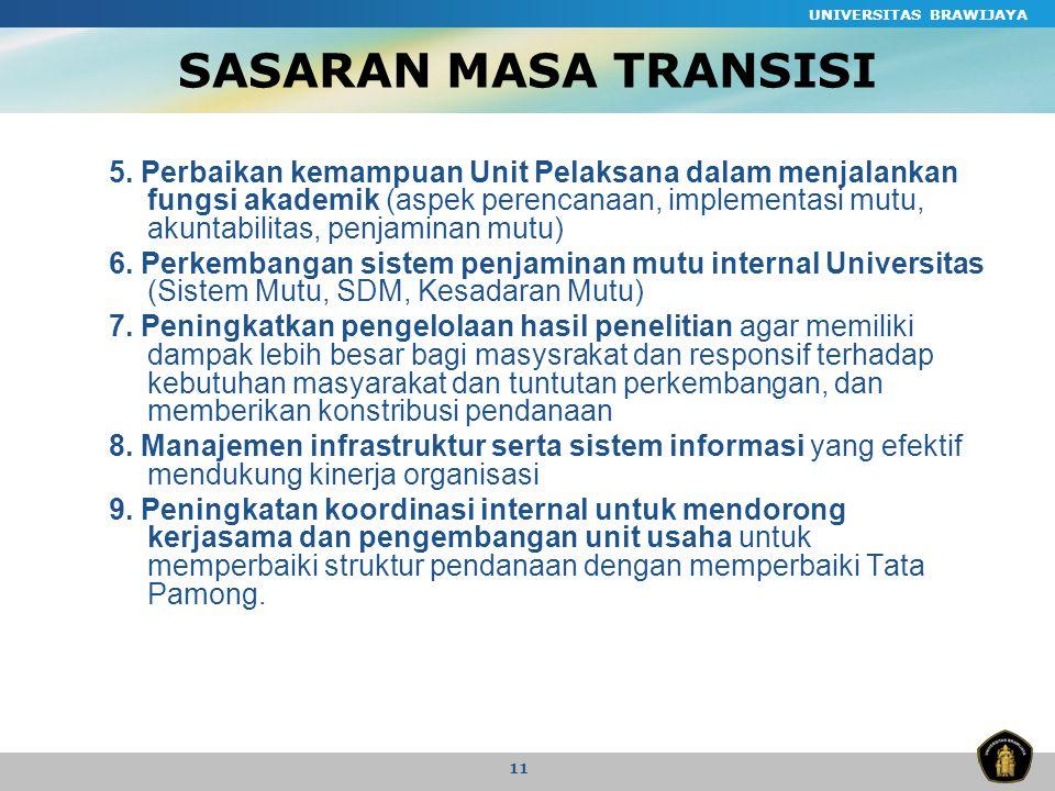 UNIVERSITAS BRAWIJAYA 11 SASARAN MASA TRANSISI 5.