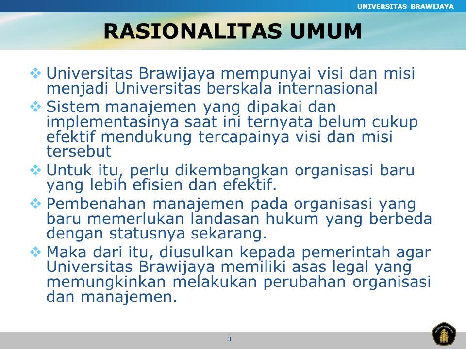 UNIVERSITAS BRAWIJAYA 4 VISI Menjadi universitas unggulan dan dapat berperan sebagai agen perubahan masyarakat melalui proses pendidikan, penelitian, dan pengabdian yang memenuhi standar nasional dan internasional.