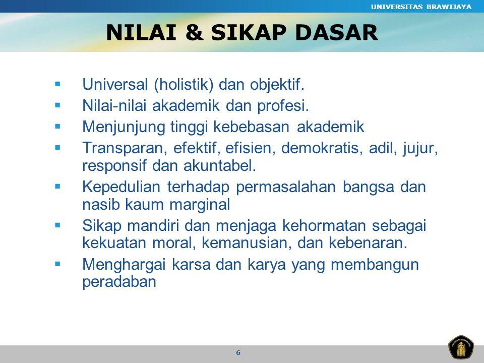 UNIVERSITAS BRAWIJAYA 6 NILAI & SIKAP DASAR  Universal (holistik) dan objektif.