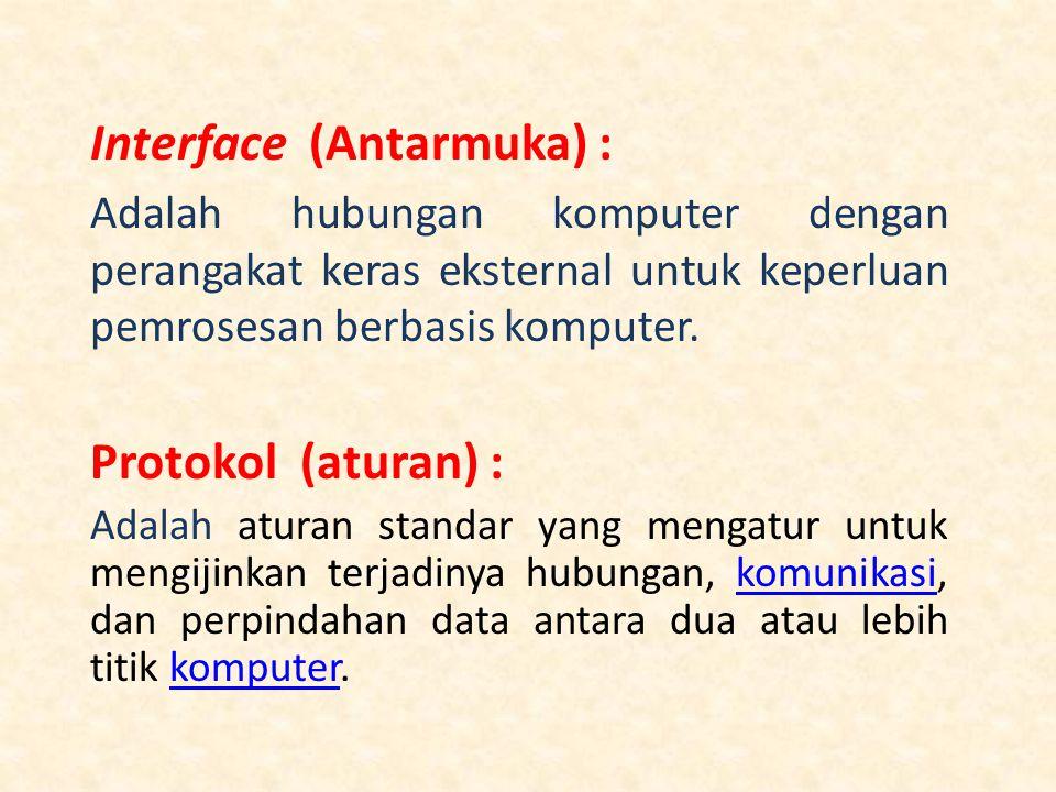 Interface (Antarmuka) : Adalah hubungan komputer dengan perangakat keras eksternal untuk keperluan pemrosesan berbasis komputer.