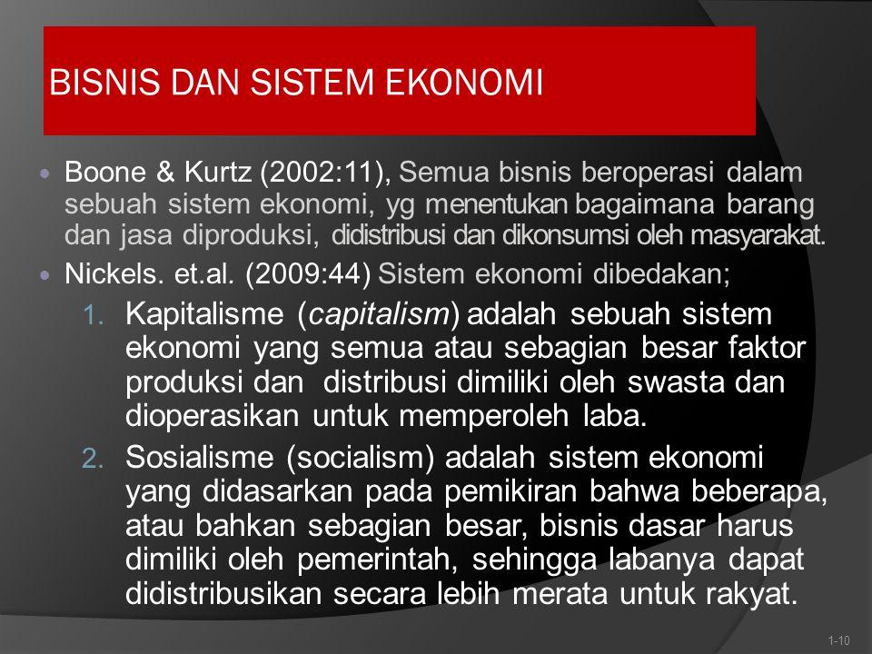BISNIS DAN SISTEM EKONOMI Boone & Kurtz (2002:11), Semua bisnis beroperasi dalam sebuah sistem ekonomi, yg menentukan bagaimana barang dan jasa diproduksi, didistribusi dan dikonsumsi oleh masyarakat.
