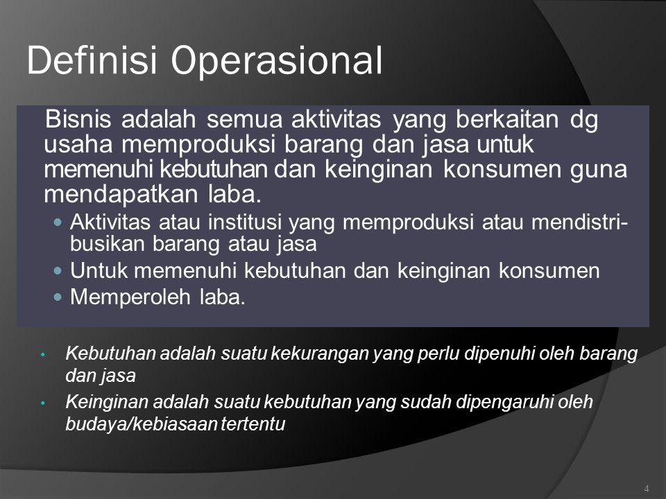 Definisi Operasional Bisnis adalah semua aktivitas yang berkaitan dg usaha memproduksi barang dan jasa untuk memenuhi kebutuhan dan keinginan konsumen guna mendapatkan laba.
