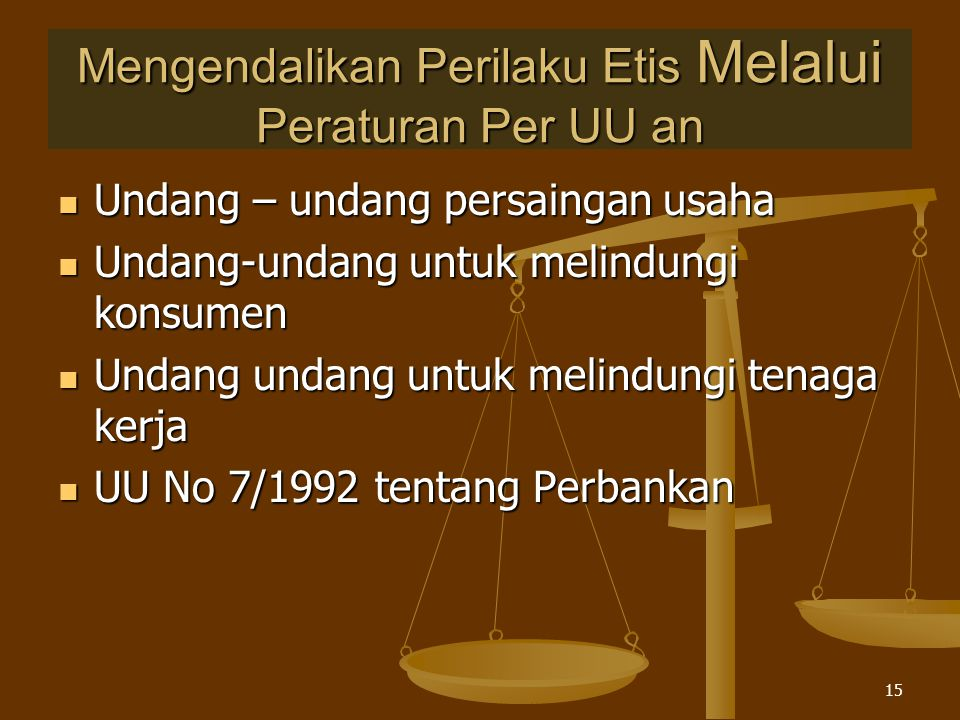 Copyright © 2005 by South-Western, a division of Thomson Learning, Inc. All rights reserved. Mengendalikan Perilaku Etis Melalui Peraturan Per UU an U