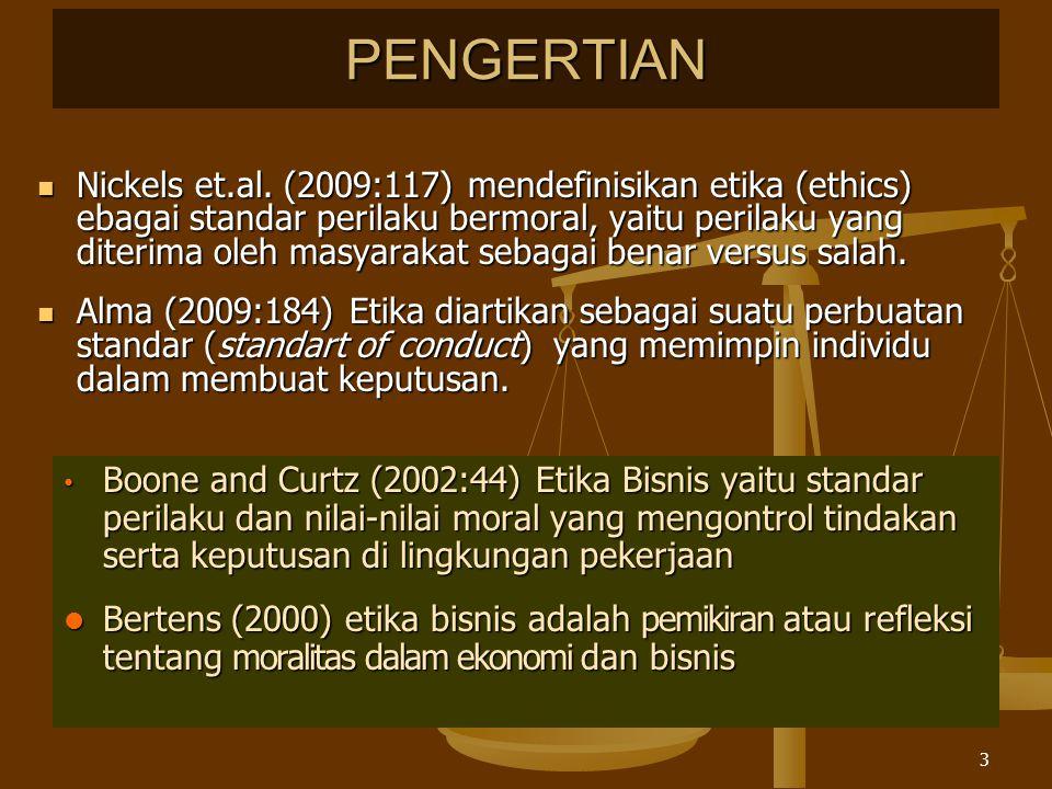 2-4 Gambar 5.1 Keputusan Bisnis dari Segi Etis dan Hukum Ethical Unethical IllegalLegal Unethical and Illegal Unethical but Legal Ethical but Illegal Illegal Ethical and Legal