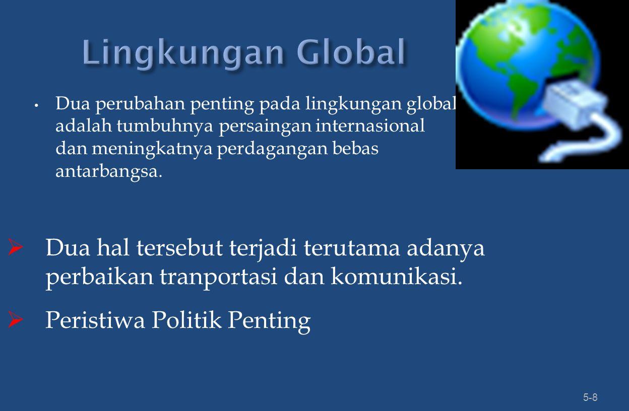 Dua perubahan penting pada lingkungan global adalah tumbuhnya persaingan internasional dan meningkatnya perdagangan bebas antarbangsa.
