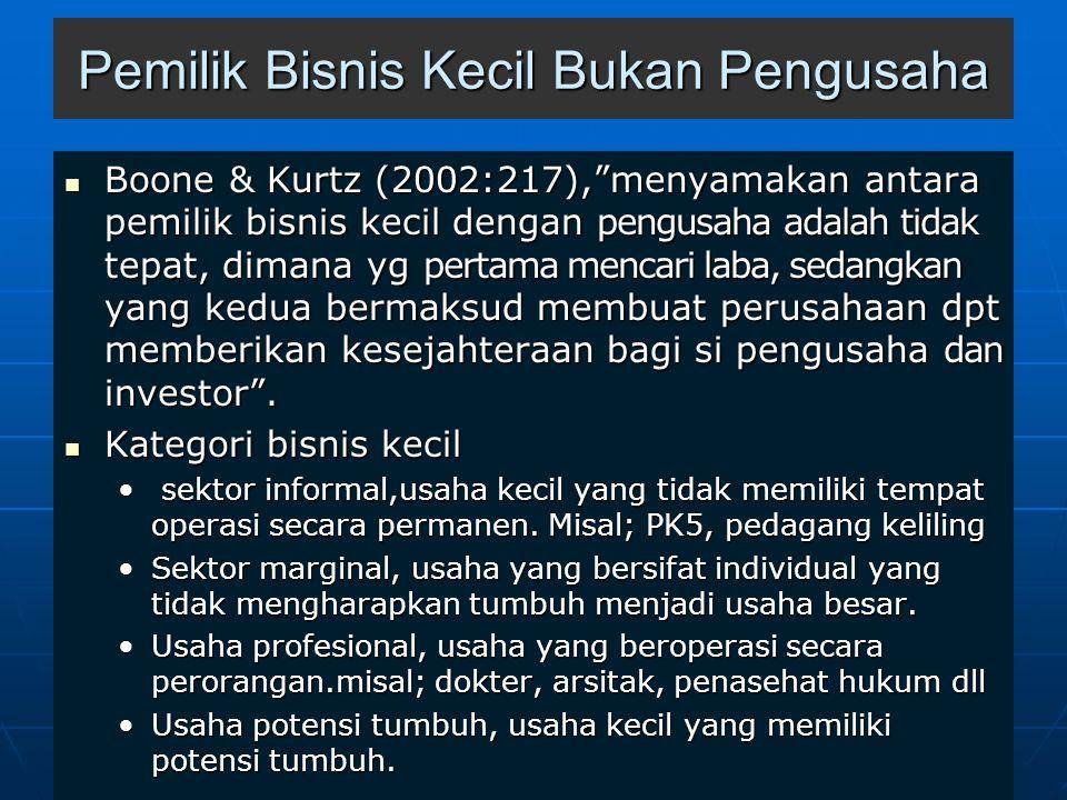 Pemilik Bisnis Kecil Bukan Pengusaha Boone & Kurtz (2002:217), menyamakan antara pemilik bisnis kecil dengan pengusaha adalah tidak tepat, dimana yg pertama mencari laba, sedangkan yang kedua bermaksud membuat perusahaan dpt memberikan kesejahteraan bagi si pengusaha dan investor .