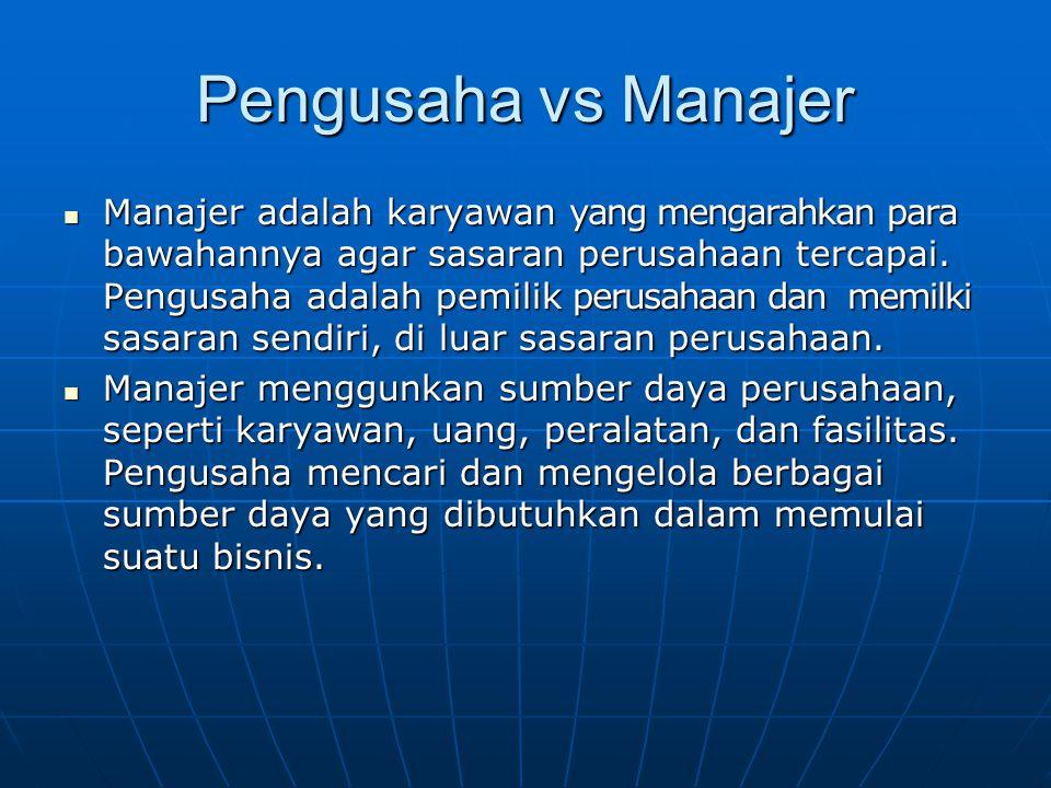 Pengusaha vs Manajer Manajer adalah karyawan yang mengarahkan para bawahannya agar sasaran perusahaan tercapai.