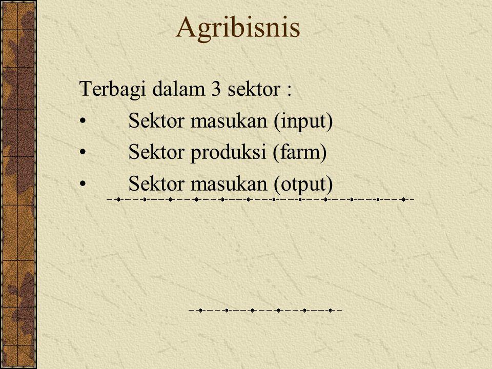 Ruang lingkup Agribisnis Agribisnis Penyediaan Input Dan Sarana Produksi Usahatani (Produksi komoditi Pertanian) Penanganan Pasca Panen dan Pengolahan Distribusi Dan Pemasaran
