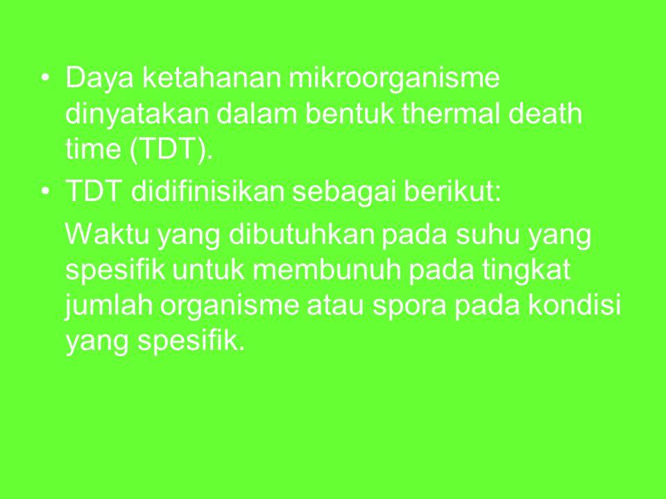 Daya ketahanan mikroorganisme dinyatakan dalam bentuk thermal death time (TDT). TDT didifinisikan sebagai berikut: Waktu yang dibutuhkan pada suhu yan