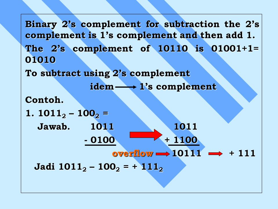 Binary 2's complement for subtraction the 2's complement is 1's complement and then add 1.