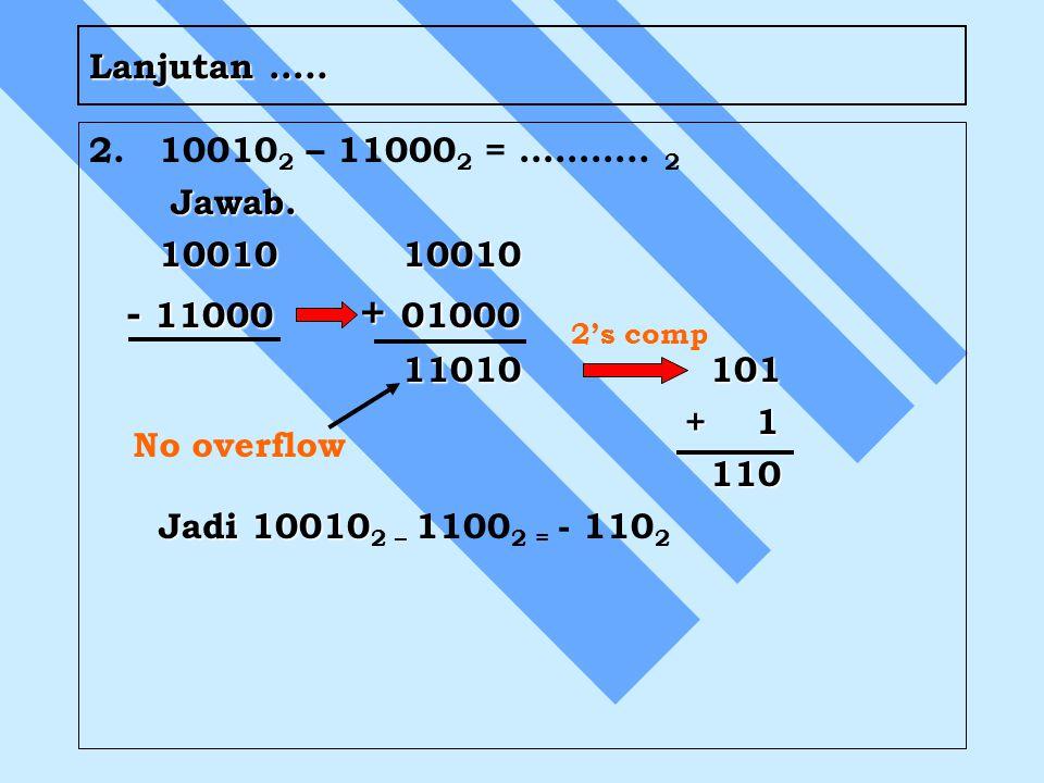 Lanjutan ….. 2.10010 2 – 11000 2 = ……….. 2 Jawab. Jawab. 1001010010 - 11000 + 01000 - 11000 + 01000 11010 101 + 1 + 1 110 110 Jadi 10010 Jadi 10010 2