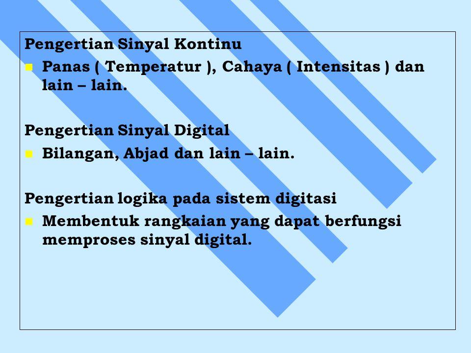 Pengertian Sinyal Kontinu Panas ( Temperatur ), Cahaya ( Intensitas ) dan lain – lain. Pengertian Sinyal Digital Bilangan, Abjad dan lain – lain. Peng