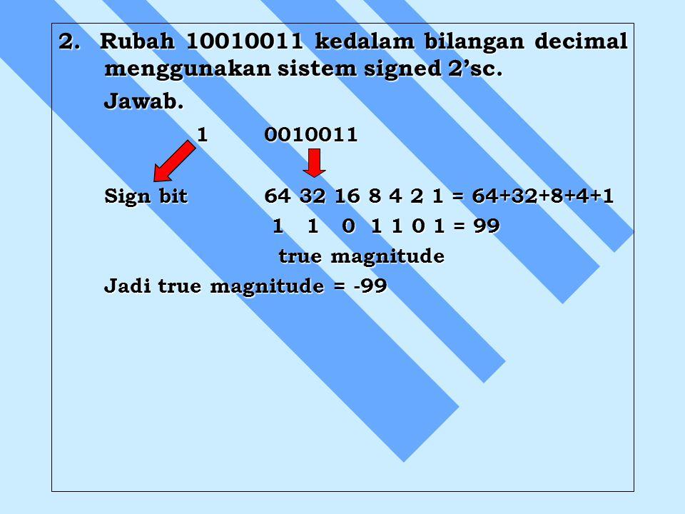 2. Rubah 10010011 kedalam bilangan decimal menggunakan sistem signed 2'sc. Jawab. 10010011 Sign bit64 32 16 8 4 2 1 = 64+32+8+4+1 1 1 0 1 1 0 1 = 99 1