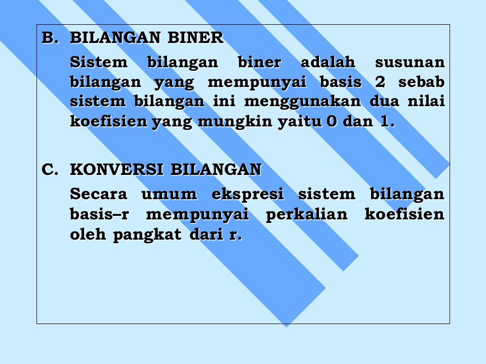 B.BILANGAN BINER Sistem bilangan biner adalah susunan bilangan yang mempunyai basis 2 sebab sistem bilangan ini menggunakan dua nilai koefisien yang m