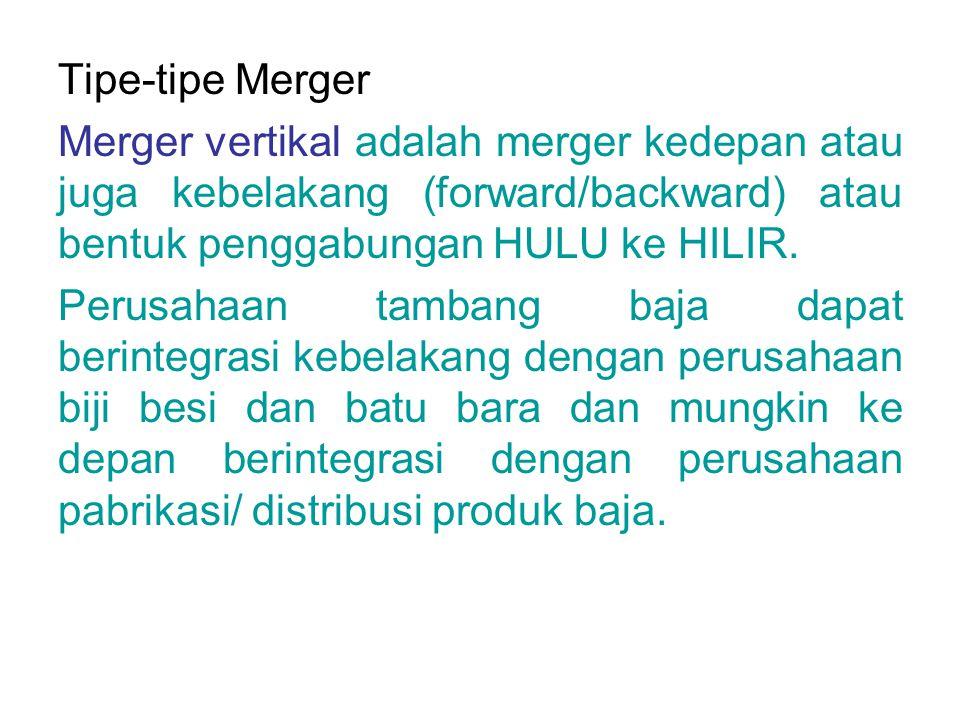 Tipe-tipe Merger Merger vertikal adalah merger kedepan atau juga kebelakang (forward/backward) atau bentuk penggabungan HULU ke HILIR. Perusahaan tamb