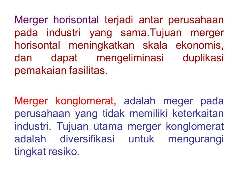Merger horisontal terjadi antar perusahaan pada industri yang sama.Tujuan merger horisontal meningkatkan skala ekonomis, dan dapat mengeliminasi dupli