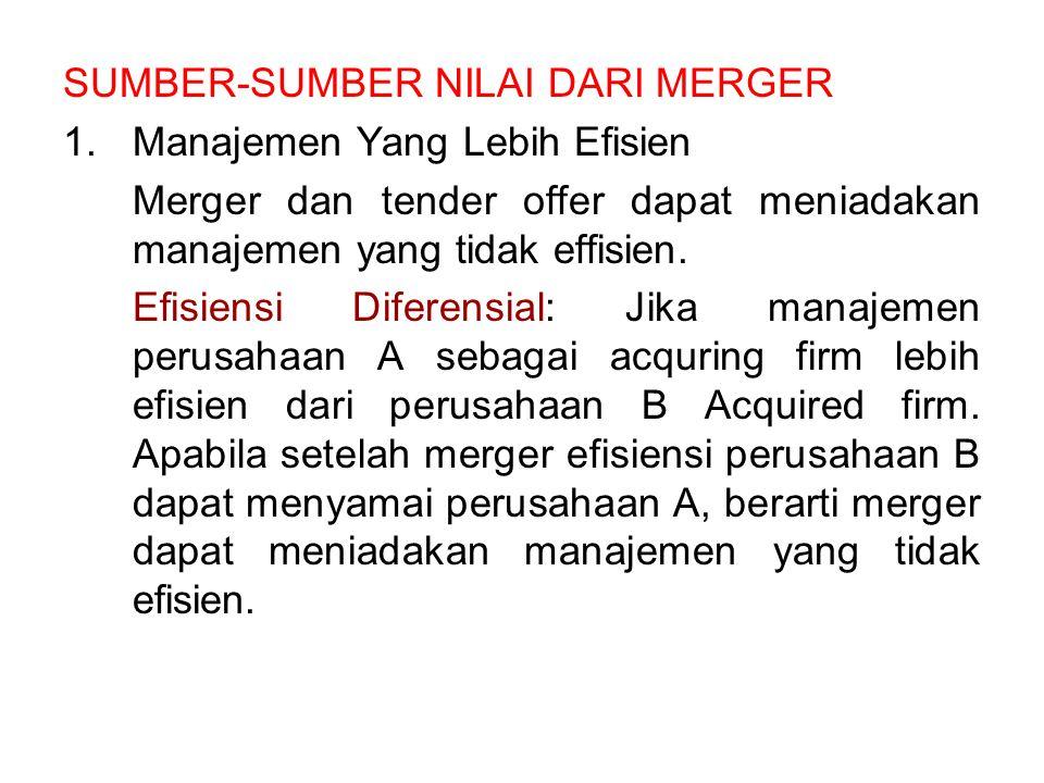 SUMBER-SUMBER NILAI DARI MERGER 1.Manajemen Yang Lebih Efisien Merger dan tender offer dapat meniadakan manajemen yang tidak effisien. Efisiensi Difer