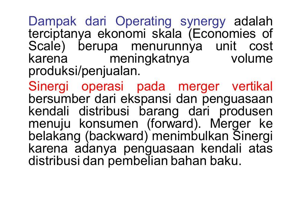 Dampak dari Operating synergy adalah terciptanya ekonomi skala (Economies of Scale) berupa menurunnya unit cost karena meningkatnya volume produksi/pe