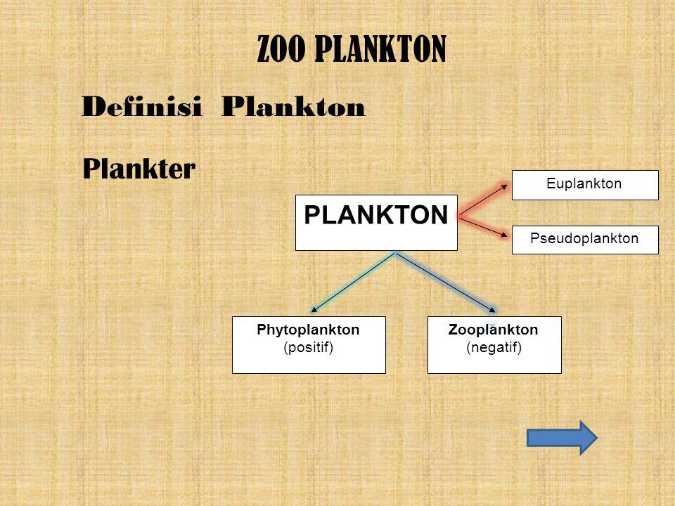 PLANKTON Euplankton Pseudoplankton Phytoplankton (positif) Zooplankton (negatif) ZOO PLANKTON Plankter Definisi Plankton