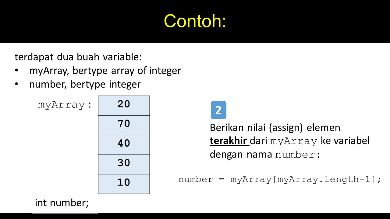 Contoh: 20 70 40 30 10 myArray : int number; terdapat dua buah variable: myArray, bertype array of integer number, bertype integer Berikan nilai (assi
