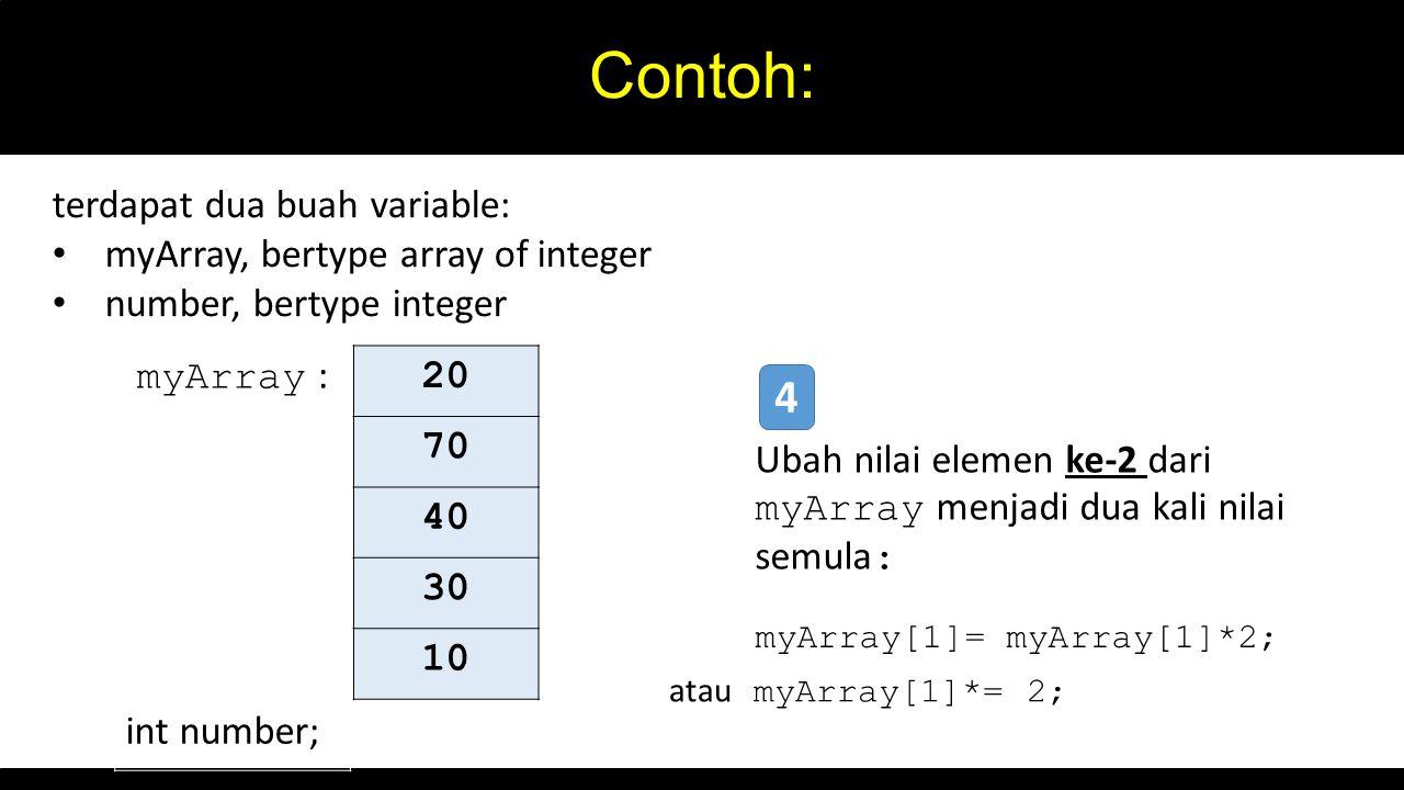 Contoh: 20 70 40 30 10 myArray : int number; terdapat dua buah variable: myArray, bertype array of integer number, bertype integer Ubah nilai elemen ke-2 dari myArray menjadi dua kali nilai semula : 4 myArray[1]= myArray[1]*2; atau myArray[1]*= 2;