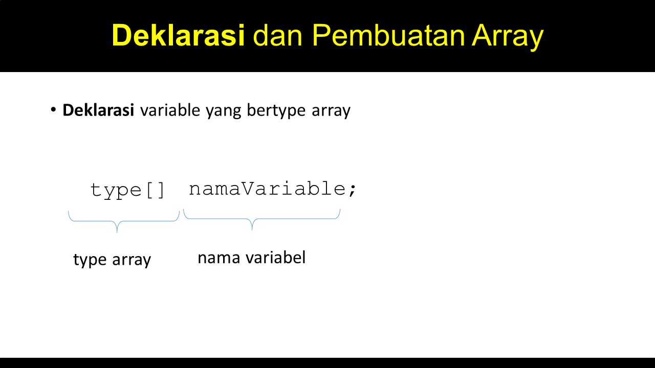 Deklarasi dan Pembuatan Array Deklarasi variable yang bertype array type[] namaVariable; type array nama variabel