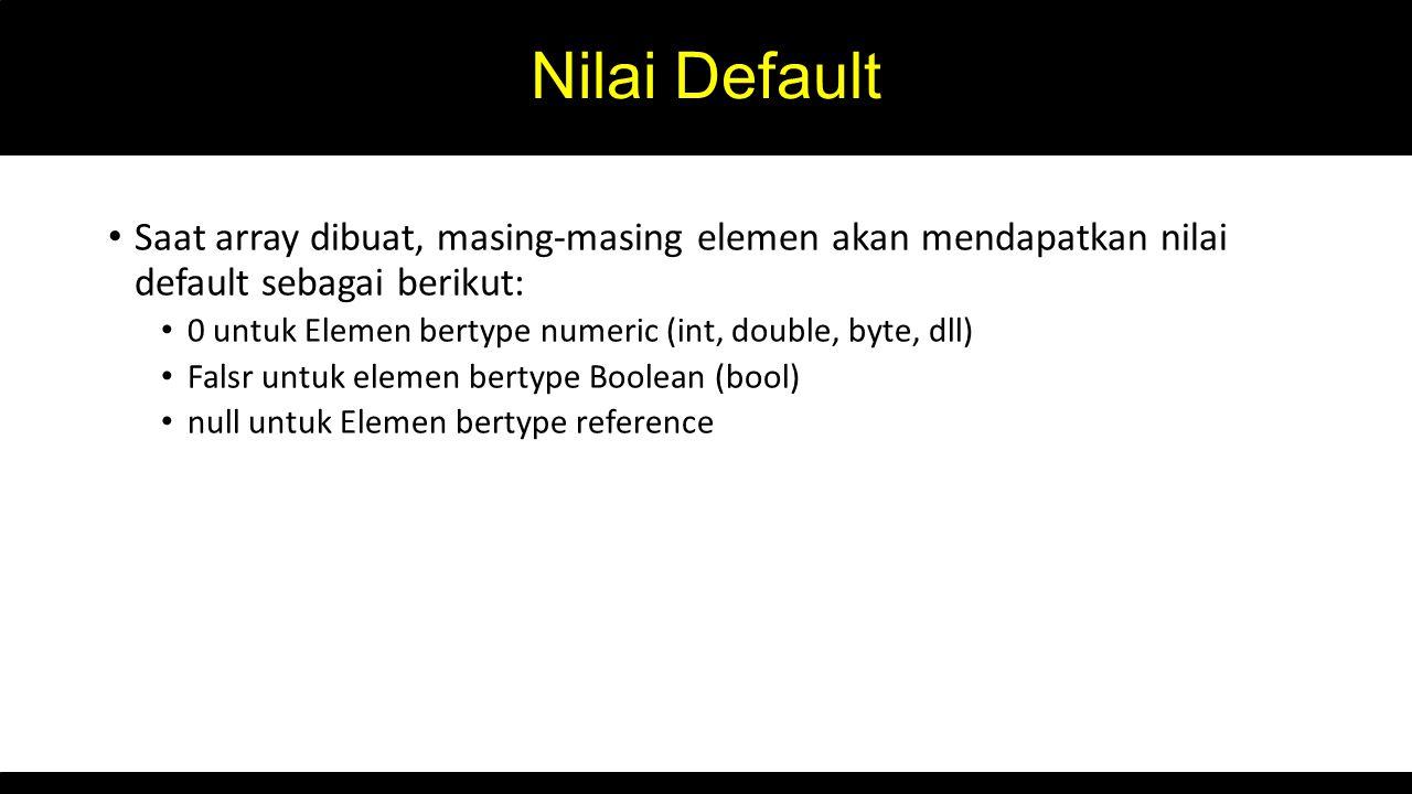 Nilai Default Saat array dibuat, masing-masing elemen akan mendapatkan nilai default sebagai berikut: 0 untuk Elemen bertype numeric (int, double, byte, dll) Falsr untuk elemen bertype Boolean (bool) null untuk Elemen bertype reference