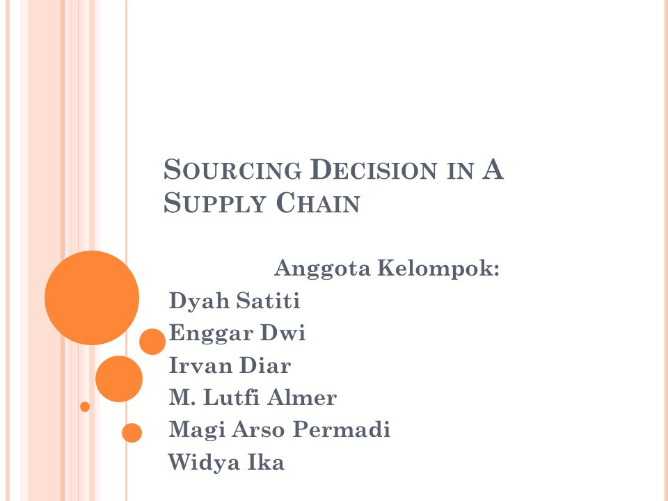 O UTLINE The role of sourcing in a supply chain In-house or outsource Supplier scoring and assessment Design collaboration The procurement process Sourcing planning and analysis Risk management in sourcing Making sourcing decisions in practice Summary of learning objectives
