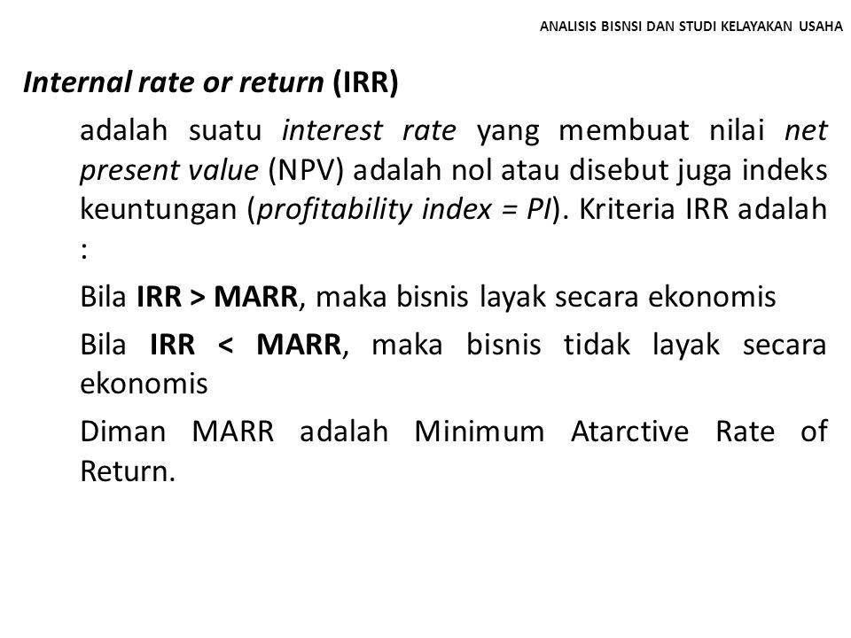 ANALISIS BISNSI DAN STUDI KELAYAKAN USAHA Internal rate or return (IRR) adalah suatu interest rate yang membuat nilai net present value (NPV) adalah n