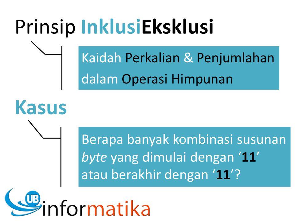 Prinsip InklusiEksklusi Kaidah Perkalian & Penjumlahan dalam Operasi Himpunan Kasus Berapa banyak kombinasi susunan byte yang dimulai dengan '11' atau berakhir dengan '11'