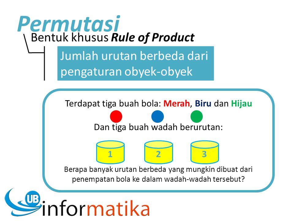 Bentuk khusus Rule of Product Permutasi Jumlah urutan berbeda dari pengaturan obyek-obyek Terdapat tiga buah bola: Merah, Biru dan Hijau Dan tiga buah wadah berurutan: Berapa banyak urutan berbeda yang mungkin dibuat dari penempatan bola ke dalam wadah-wadah tersebut.