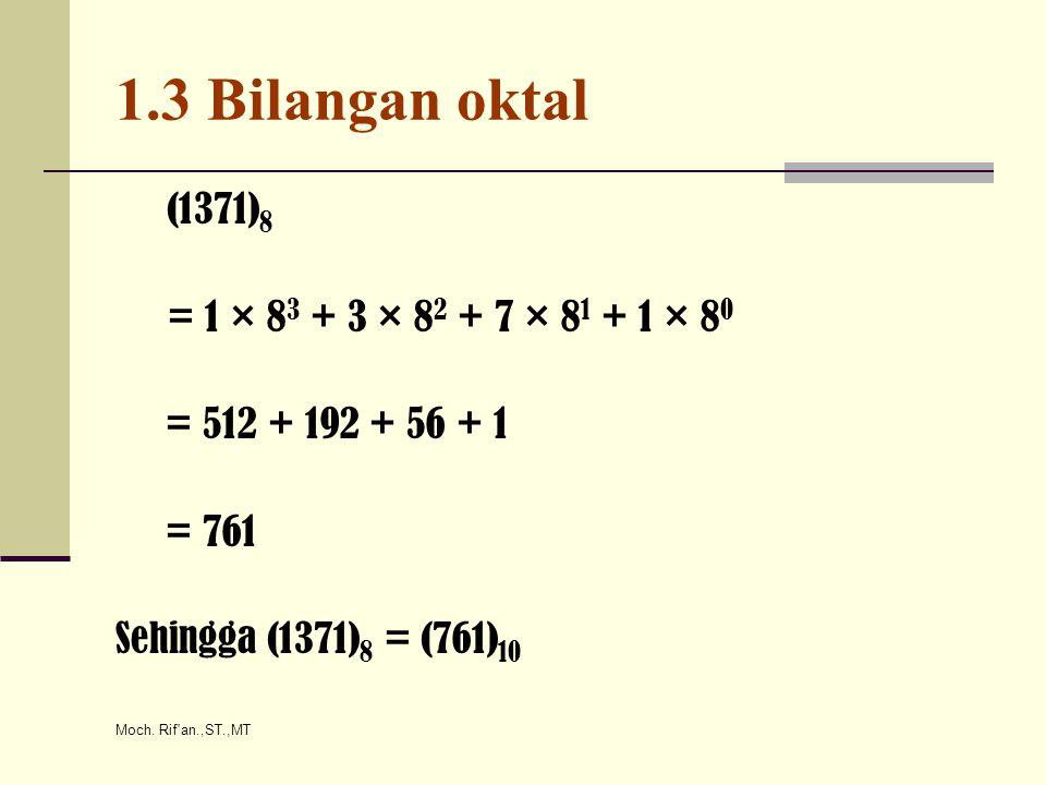 Moch. Rif'an.,ST.,MT 1.3 Bilangan oktal (1371) 8 = 1 × 8 3 + 3 × 8 2 + 7 × 8 1 + 1 × 8 0 = 512 + 192 + 56 + 1 = 761 Sehingga (1371) 8 = (761) 10