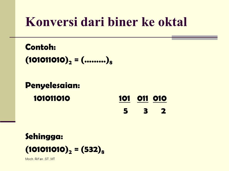 Moch. Rif'an.,ST.,MT Konversi dari biner ke oktal Contoh: (101011010) 2 = (………) 8 Penyelesaian: 101011010 101 011 010 5 3 2 Sehingga: (101011010) 2 =