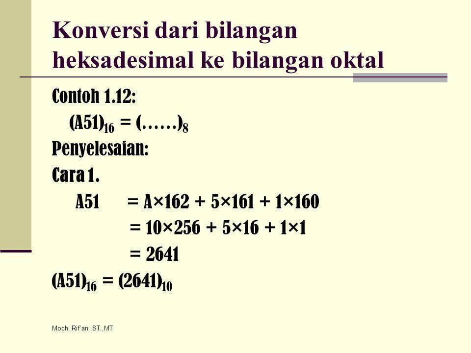 Moch. Rif'an.,ST.,MT Konversi dari bilangan heksadesimal ke bilangan oktal Contoh 1.12: (A51) 16 = (……) 8 Penyelesaian: Cara 1. A51 = A×162 + 5×161 +