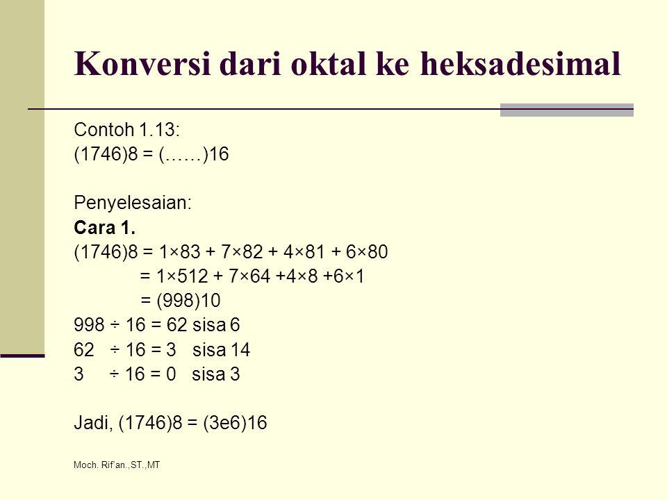 Moch. Rif'an.,ST.,MT Konversi dari oktal ke heksadesimal Contoh 1.13: (1746)8 = (……)16 Penyelesaian: Cara 1. (1746)8 = 1×83 + 7×82 + 4×81 + 6×80 = 1×5