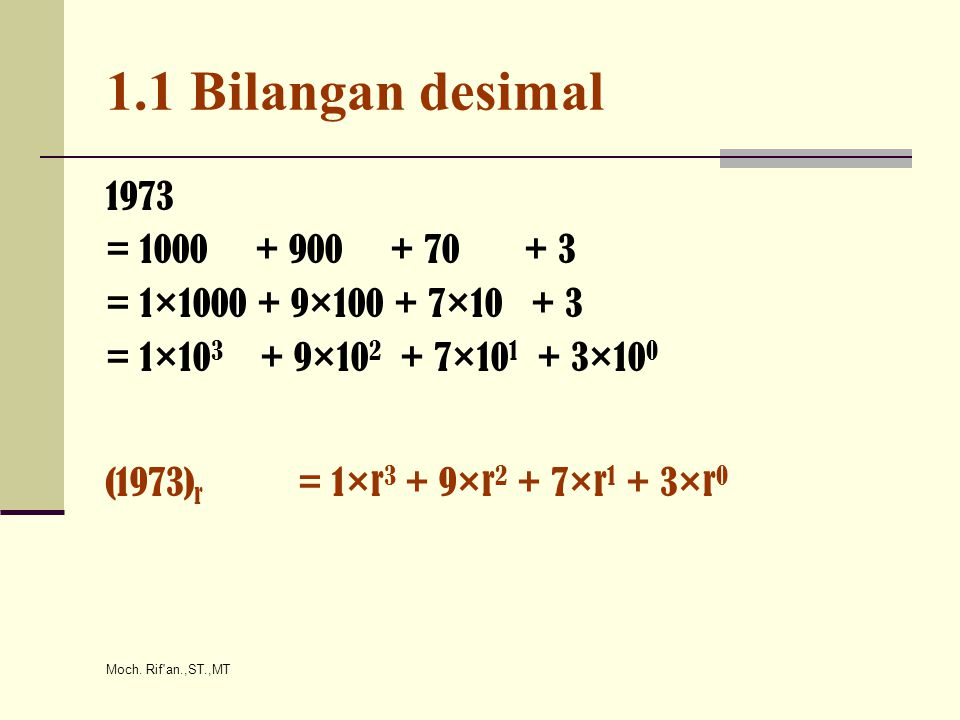 Moch. Rif'an.,ST.,MT 1.1 Bilangan desimal 1973 = 1000 + 900 + 70 + 3 = 1×1000 + 9×100 + 7×10 + 3 = 1×10 3 + 9×10 2 + 7×10 1 + 3×10 0 (1973) r = 1×r 3