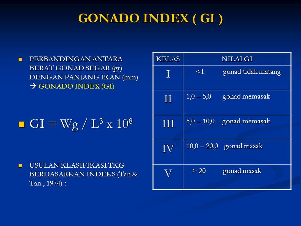 GONADO INDEX ( GI ) GONADO INDEX ( GI ) PERBANDINGAN ANTARA BERAT GONAD SEGAR (gr) DENGAN PANJANG IKAN (mm)  GONADO INDEX (GI) PERBANDINGAN ANTARA BE