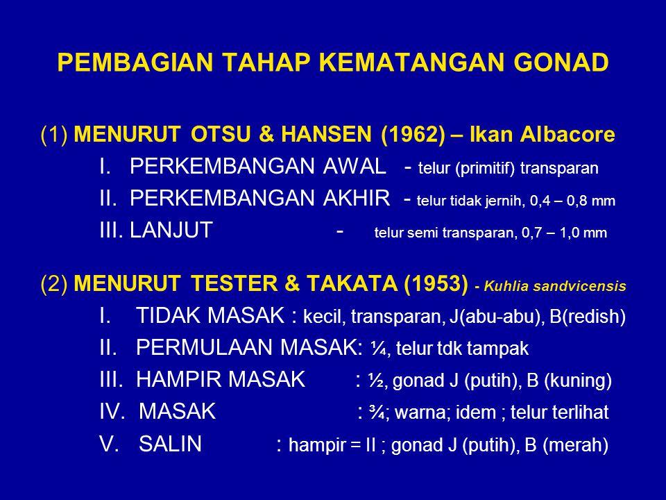 PEMBAGIAN TAHAP KEMATANGAN GONAD (1) MENURUT OTSU & HANSEN (1962) – Ikan Albacore I. PERKEMBANGAN AWAL - telur (primitif) transparan II. PERKEMBANGAN
