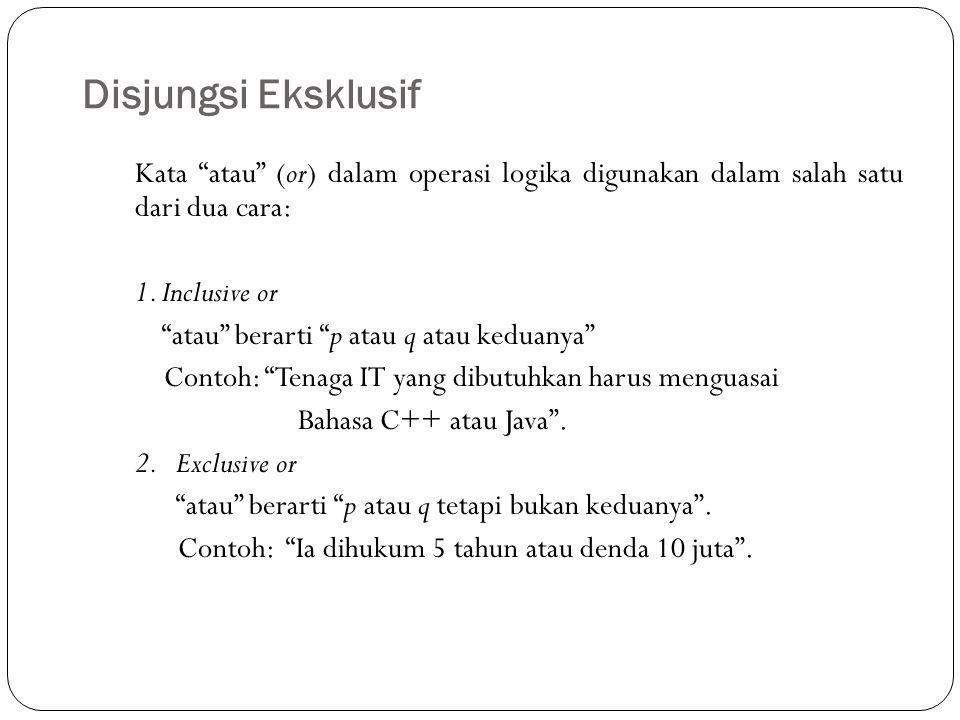 """Disjungsi Eksklusif 11 Kata """"atau"""" (or) dalam operasi logika digunakan dalam salah satu dari dua cara: 1. Inclusive or """"atau"""" berarti """"p atau q atau k"""