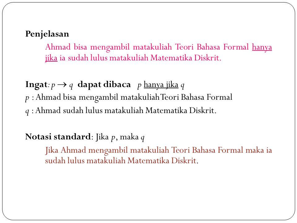 18 Penjelasan Ahmad bisa mengambil matakuliah Teori Bahasa Formal hanya jika ia sudah lulus matakuliah Matematika Diskrit. Ingat: p  q dapat dibaca p