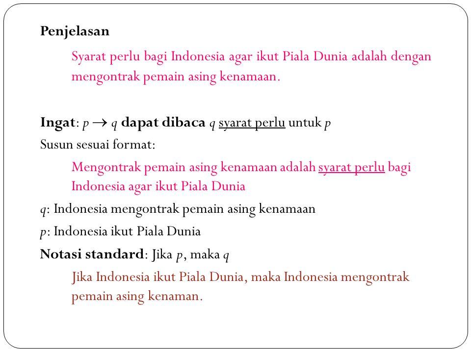 19 Penjelasan Syarat perlu bagi Indonesia agar ikut Piala Dunia adalah dengan mengontrak pemain asing kenamaan. Ingat: p  q dapat dibaca q syarat per