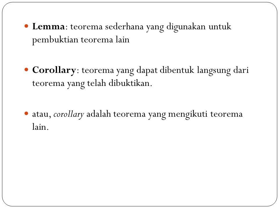 55 Lemma: teorema sederhana yang digunakan untuk pembuktian teorema lain Corollary: teorema yang dapat dibentuk langsung dari teorema yang telah dibuk