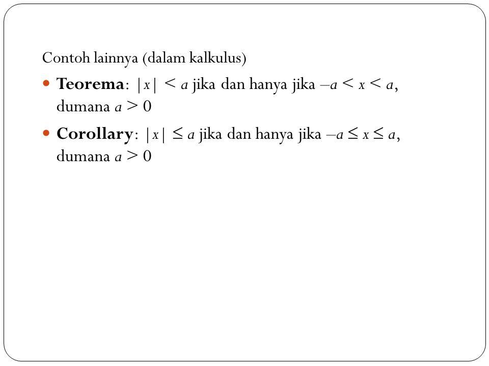 57 Contoh lainnya (dalam kalkulus) Teorema: |x| 0 Corollary: |x|  a jika dan hanya jika –a  x  a, dumana a > 0